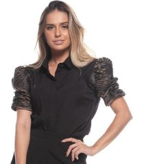 blusa feminina fashion elastano manga bufante camurça - feminino