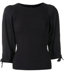 eva tie sleeve ribbed blouse - black