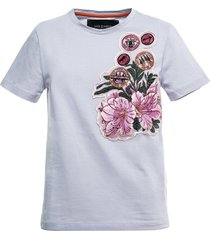 jersey t-shirt with floral patches