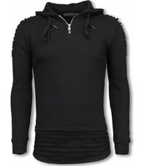 sweater justing ripped shoulder long fit hoodie