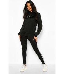 woman hoodie en leggings trainingspak, zwart