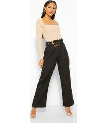 getailleerde broek met grote gesp, black