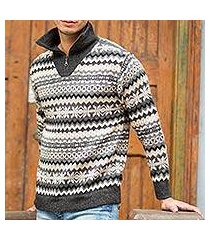 men's 100% alpaca sweater, 'huascaran explorer' (peru)