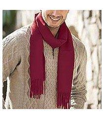 men's 100% alpaca scarf, 'cherry red' (peru)