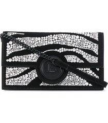 balmain crystal-embellished smartphone case 11cmx19cm - black
