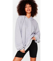 womens tell us when it's over-sized hoodie - light grey