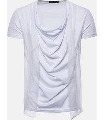 maglietta casuale del cotone del bicchierino-manicotto del manicotto dell'accumulatore del raccoglitore dell'heap di modo del mens
