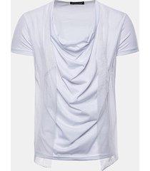 magliette casual in cotone a manica corta a maniche corte con design a filato per uomo