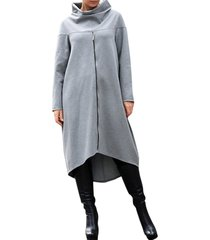 donna casual felpa lunga con collo alto a maniche lunghe con zip