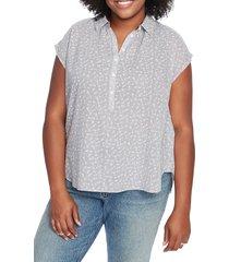 plus size women's court & rowe floral stripe top, size 1x - black