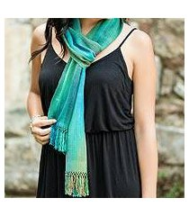 rayon chenille scarf, 'solola valley' (guatemala)