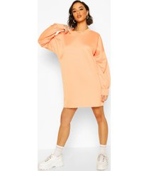 oversized sweatshirt jurk, oranje