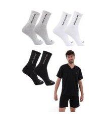 kit 3 meias algodão + pijama mechler masculino
