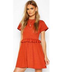 ruffle front smock dress, terracotta