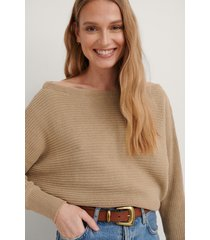 na-kd off shoulder knitted sweater - beige
