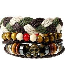 bracciale multistrato vintage in pelle punk treccia di perline con teschio a forma di braccialetto gioielli etnici per uomo