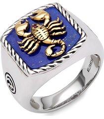 effy men's 14k goldplated sterling silver, lapis lazuli & ruby scorpion ring - size 10