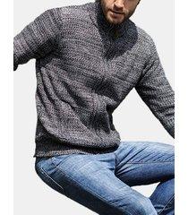 colletto da uomo colletto zipper up cardigan a maglia stripe fit maglioni casual