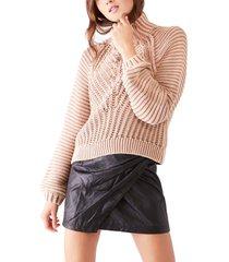 women's free people sweetheart mock neck sweater, size x-large - beige