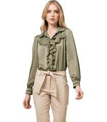 camisa mx fashion com babados emanuelle verde - kanui