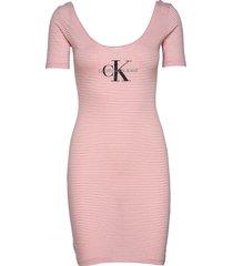 monogram stripe ballet dress kort klänning rosa calvin klein jeans