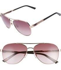 women's ted baker london 58mm gradient aviator sunglasses - gold/ rose