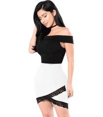 vestido racy modas curto tubinho saia transpassada preto com branco