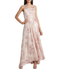 tahari asl embroidered-sequin gown