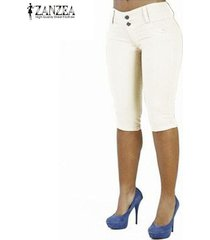 zanzea mujeres cosechado flaco capris bermudas pantalones cortos pantalones pantalons -blanco