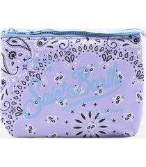 mc2 saint barth clutch bag in scuba fabric with bandana print