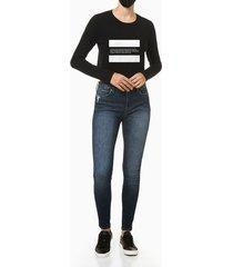 blusa feminina manga slim longa estampa established 1978 preta calvin klein jeans - pp