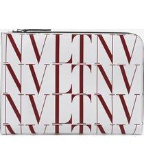 valentino garavani leather card holder with all-over vltn logo