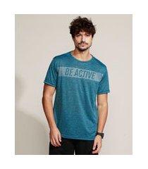 "camiseta masculina esportiva ace be active"" manga curta gola careca azul"""