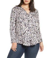 plus size women's nic+zoe cheetah print shirt