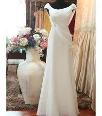 simple round neckline split slim chiffon destination garden beach wedding dress