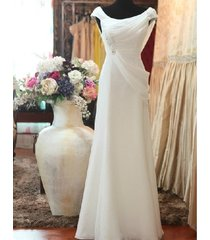 simple round neckline split slim chiffon destination garden beach wedding dress