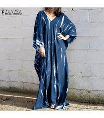 zanzea mujeres con cuello en v vestido de manga 3/4 maxi playa vestido irregular informal floral del verano -azul