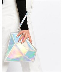 women fashion diamond hologram shape bag laser day clutches symphony holographic