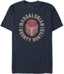 star wars men's mandalorian bounty hunter distressed helmet logo t-shirt