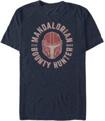 star wars men's mandalorian bounty hunter distressed helmet logo t-shirt