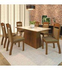 mesa de jantar 6 lugares alana seda/neve branco - viero móveis