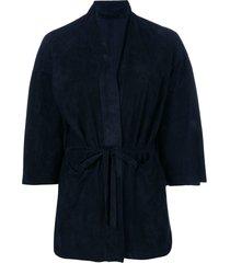 salvatore santoro belted fitted jacket - blue