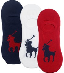 men's ralph lauren 3-pack big pony no-show socks, size one size - red