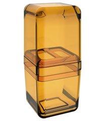 porta escova com tampa cube 19,5x8,5cm mel