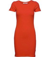 rib ss dress korte jurk oranje calvin klein jeans