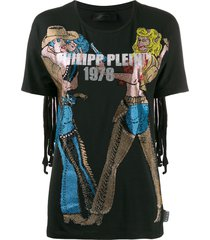 philipp plein crystal cowboy t-shirt - black