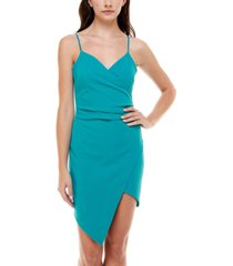 emerald sundae juniors' asymmetrical bodycon dress