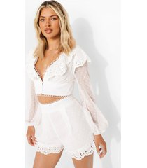 dobby mesh broderie blouse met ruches, ivory