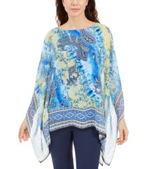 jm collection printed studded poncho, created for macy's