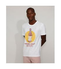 "camiseta masculina original craft beer"" manga curta gola careca off white"""